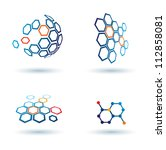 hexagonal abstract icons ... | Shutterstock .eps vector #112858081