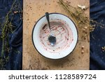 dirty dish or plate after... | Shutterstock . vector #1128589724