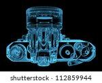 DSLR SLR camera (3D xray blue transparent) - stock photo