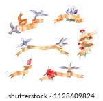 set of watercolor vintage... | Shutterstock . vector #1128609824