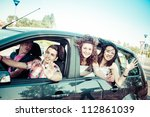 friends ready for vacations... | Shutterstock . vector #112861039