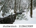 Snow Cover Forest With Creek