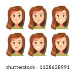 set of cute female face... | Shutterstock .eps vector #1128628991