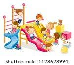 children having fun on... | Shutterstock .eps vector #1128628994