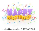happy birthday words with... | Shutterstock . vector #112863241