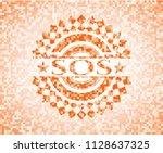 sos abstract orange mosaic... | Shutterstock .eps vector #1128637325