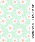 pattern of white camomiles and... | Shutterstock . vector #1128645584