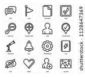 set of 16 icons such as gallery ...