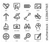 set of 16 icons such as pen...