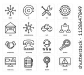 set of 16 icons such as error ...