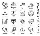 set of 16 icons such as calling ...