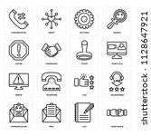 set of 16 icons such as hand...