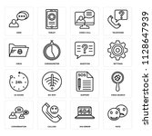 set of 16 icons such as rate ...