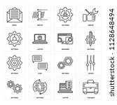 set of 16 icons such as toolbox ...