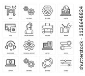 set of 16 icons such as levels  ...