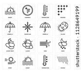 set of 16 icons such as raining ...