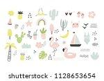 hand drawn summer print | Shutterstock .eps vector #1128653654
