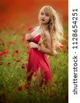 sexy blond girl in elegant... | Shutterstock . vector #1128654251