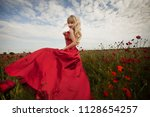 sexy blond girl in elegant... | Shutterstock . vector #1128654257