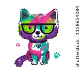 colorful pop art illustration... | Shutterstock .eps vector #1128654284