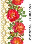 floral seamless pattern. red... | Shutterstock . vector #1128657221