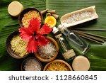 hibiscus salt  in wooden bowl ... | Shutterstock . vector #1128660845