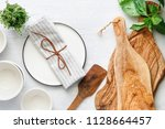 kitchen utensils on a white... | Shutterstock . vector #1128664457