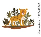 wild cheetah in the jungle scene | Shutterstock .eps vector #1128692867