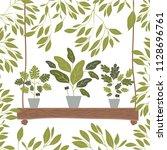 houseplants in swing decorative ... | Shutterstock .eps vector #1128696761