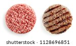 raw and grilled burger meat... | Shutterstock . vector #1128696851