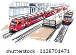 railway station sketch | Shutterstock .eps vector #1128701471