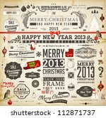 Stock vector christmas decoration collection set of calligraphic and typographic elements frames vintage 112871737