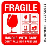 packaging label   fragile  just ... | Shutterstock .eps vector #1128720881