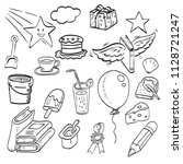 set of hand drawn ink doodle ... | Shutterstock .eps vector #1128721247