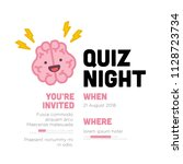 quiz night poster with brain... | Shutterstock .eps vector #1128723734