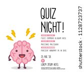 quiz night poster with brain... | Shutterstock .eps vector #1128723737