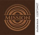 mission wooden emblem. retro | Shutterstock .eps vector #1128724427
