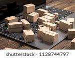 3d illustration of notebook... | Shutterstock . vector #1128744797