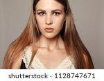 beauty woman face portrait.... | Shutterstock . vector #1128747671