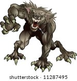 A mean snarling scary werewolf attacking the viewer - stock vector