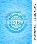 expired light blue mosaic emblem | Shutterstock .eps vector #1128752249