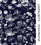navy floral damask vintage... | Shutterstock . vector #1128766457