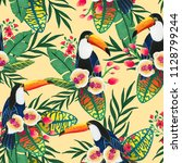 seamless pattern with tropical... | Shutterstock . vector #1128799244