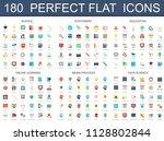 180 modern flat icons set of... | Shutterstock . vector #1128802844