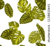 tropical leaves. seamless... | Shutterstock .eps vector #1128810641