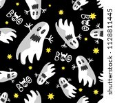 the print with flying ghosts... | Shutterstock .eps vector #1128811445