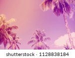 coconut trees over clear sky on ... | Shutterstock . vector #1128838184
