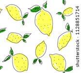 lemon vector background. cute... | Shutterstock .eps vector #1128851714