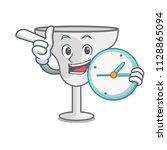 with clock margarita glass... | Shutterstock .eps vector #1128865094