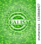 realism green emblem. mosaic... | Shutterstock .eps vector #1128868427
